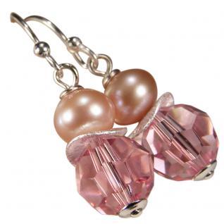 Ohrring mit SWAROVSKI Elements, Süßwasserperle und Silber. Rosa - Vorschau 1