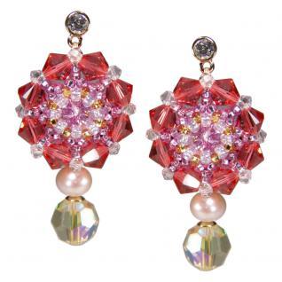 Kristall-Ohrringe mit SWAROVSKI ELEMENTS. Lachsrosa