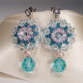 Kristall-Ohrringe mit SWAROVSKI ELEMENTS. Aquamarinblau - Vorschau 3