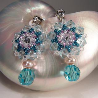 Kristall-Ohrringe mit SWAROVSKI ELEMENTS. Aquamarinblau - Vorschau 4