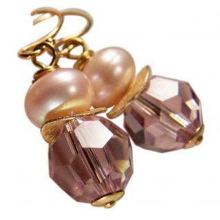 Ohrhänger mit SWAROVSKI Elements, Süßwasserperle und Silber vergoldet. Rosa