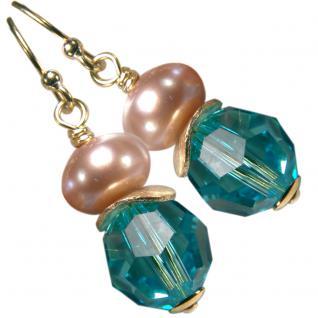 Ohrhänger mit SWAROVSKI Elements, Süßwasserperle und Silber vergoldet. Türkis
