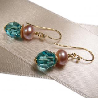 Ohrhänger mit SWAROVSKI Elements, Süßwasserperle und Silber vergoldet. Türkis - Vorschau 3