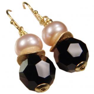 Ohrhänger mit SWAROVSKI Elements, Süßwasserperle und Silber vergoldet. Schwarz