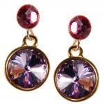 Kristall-Ohrringe mit SWAROVSKI ELEMENTS. Violett-Fuchsia