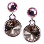 Silberne Kristall-Ohrringe mit SWAROVSKI ELEMENTS. Grau-Violett