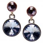 Silberne Kristall-Ohrringe mit SWAROVSKI ELEMENTS. Blau-Violett