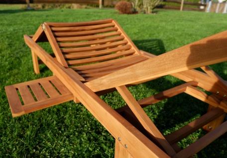 AS-S ECHT TEAK Sonnenliege Gartenliege Strandliege Holzliege Holz vielfach verstellbar mit Tisch sehr robust Modell: JAV-COZY - Vorschau 5