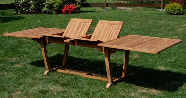 ECHT TEAK XXL Ausziehtisch Holztisch Gartentisch Garten Tisch 200-250-300cm 2fach ausziehbar, Breite 100cm Gartenmöbel Holz sehr robust JAV-TOBAGO-300x100 von AS-S - Vorschau 3