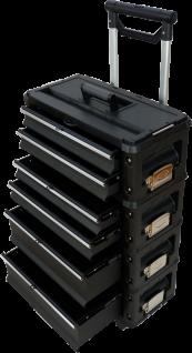 Metall Werkzeugtrolley Type B4-B BLACK EDITION mit Schubladenverriegelung und SchlossMetall Werkzeugtrolley Type B4-B BLACK EDITION mit Schubladenverriegelung und Schloss