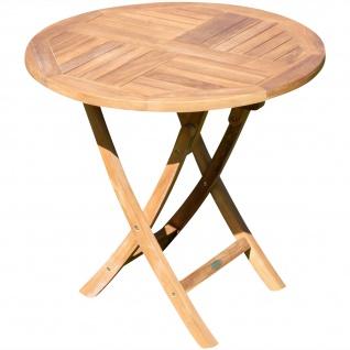 B-WARE ECHT TEAK Gartentisch Klapptisch Holztisch Gartentisch Tisch rund 80cm JAV-COAMO