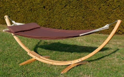 320cm Hängemattengestell XL LIMITED EDITION aus Holz Lärche natur mit Stab Hängematte braun gefüttert und Polster Schrauben aus Edelstahl - Vorschau 4