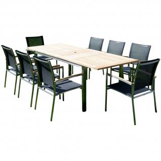 AS-S Gartengarnitur Edelstahl Batyline A-Grade Teak Holz Set: Ausziehtisch 160/220 x 90 cm + 8 Sessel Serie KUBA-SCHWARZ Gastroqualität