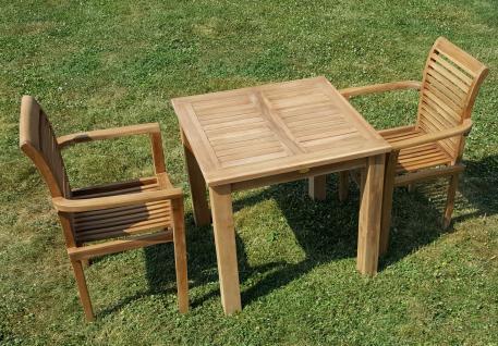 ECHT TEAK Gartenset Bigfoot Tisch 80x80 + 2 Sessel ALPEN Holz
