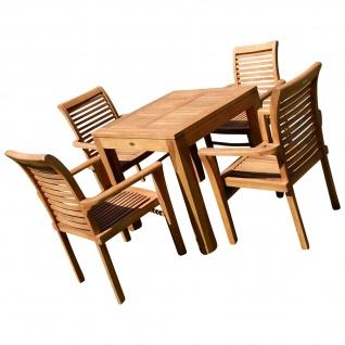 AS-S Teak Set Gartengarnitur Bigfuss Tisch 80x80 cm mit 4 Sessel ALPEN Holz Serie JAV