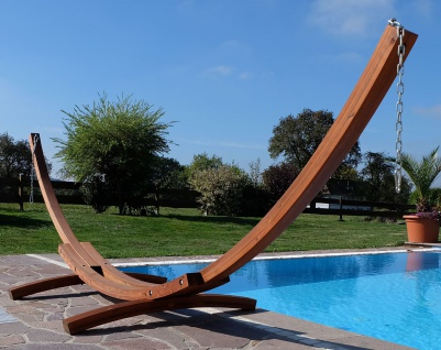 410cm XXL Luxus Hängemattengestell LIMITED EDITION aus Holz Lärche ohne Hängematte (EDELSTAHL) - Vorschau 5