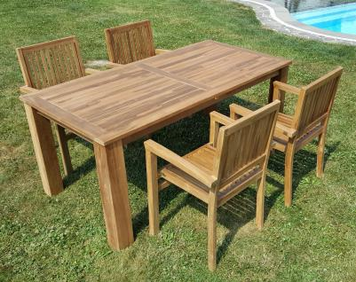 ECHT TEAK Gartenset Bigfoot Tisch 180x90 + 4 Sessel MIAMI Holz