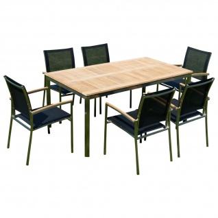 Gartengarnitur Edelstahl Teak Set: Tisch 160x90 cm + 6 Sessel Serie KUBA-SCHWARZ