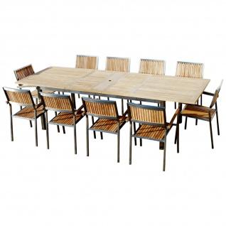 Gartengarnitur Edelstahl Teak Set: Ausziehtisch 200-280x100 cm + 10 Teak Sessel A-Grade Teak Holz Serie KUBA