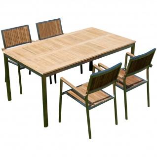 AS-S Gartengarnitur Edelstahl Teak Set: Tisch 160x90 cm + 4 Teak Sessel A-Grade Teak Holz Serie KUBA Gastroqualität