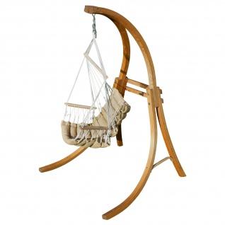 AS-S DESIGN Hängesessel Hängestuhl mit Gestell aus Holz Lärche CAT-MALY-BRAUN Holzgestell Hängesesselgestell komplett mit Stoffsessel angenehmer Sitzkomfort im 6cm dicken Kissen