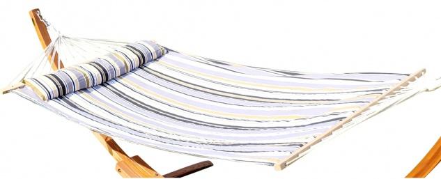 DESIGN Hängematte 120x200cm gefüttert mit Kopfkissen GRAU gestreift aus Baumwolle