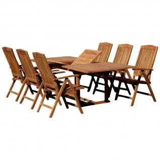 AS-S XXL Teak Set: Gartengarnitur Ausziehtisch 180-240cm + 6 Hochlehner Sessel Holz Serie JAV-TOBAGO