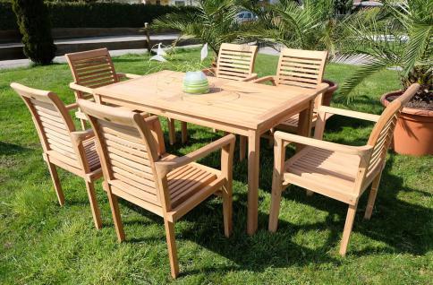 ECHT TEAK Set Gartentisch 150x80cm + 6 Sessel ALPEN