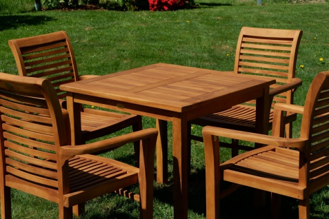 AS-S Teak Set: Gartengarnitur Gartentisch 80x80 cm + 4x Sessel Holz Serie JAV-ALPEN - Vorschau 4
