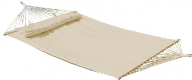 AS-S DESIGN Doppelhängematte 150x200cm gefüttert mit Kopfkissen BEIGE aus Baumwolle