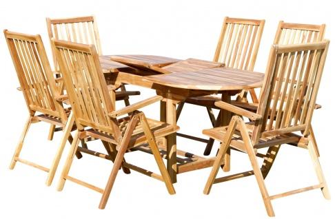 Gartengarnitur mit Ausziehtisch 180cm und 4/6/oder 8 Hochlehner Sessel klappbar aus TEAK Eukayptus Holz