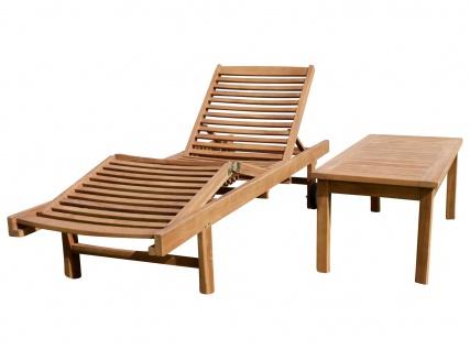 Hochwertige TEAK Sonnenliege Gartenliege Strandliege Liegestuhl Holzliege Holz sehr robust Modell: COZY+ Beistelltisch COCO 110x50cm von AS-S