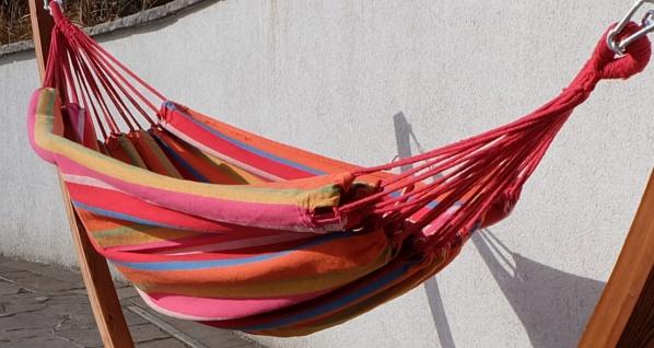 410cm XXL Hängemattengestell MONA aus Holz Lärche mit bunter Tuch Hängematte - Vorschau 4
