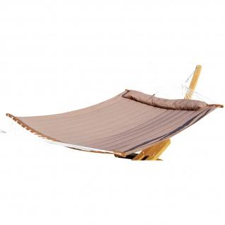 Stab Hängematte 150x200 gefüllt mit Kopfkissen BRAUN aus Baumwolle und ergon. gebogenem Stab