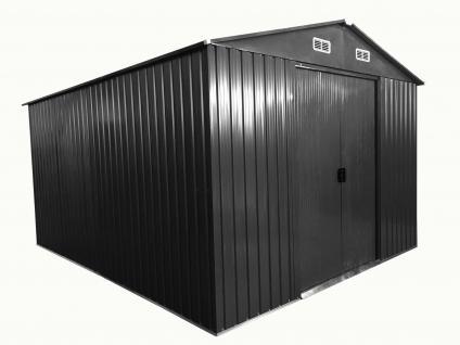 """Gartenhaus Geräteschuppen 8m² 2, 57x3, 12m 2, 5x3m aus verzinktem Stahlblech Metall grau """" mit großer Türe"""""""