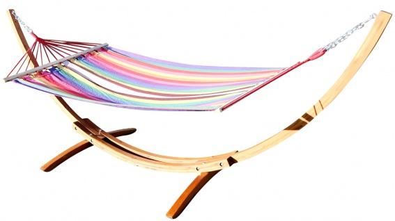 350cm Hängemattengestell ROJO1 aus Holz Lärche mit bunter Stab Hängematte