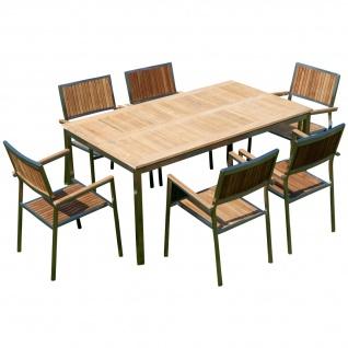 AS-S Gartengarnitur Edelstahl Teak Set: Tisch 160x90 cm + 6 Teak Sessel Serie KUBA A-Grade Teak Holz Serie KUBA Gastroqualität
