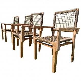 4Stück ECHT TEAK Design Rattan Sessel Gartensessel Gartenstuhl Sessel Holzsessel Gartenmöbel Holz Modell: RIO-A von AS-S