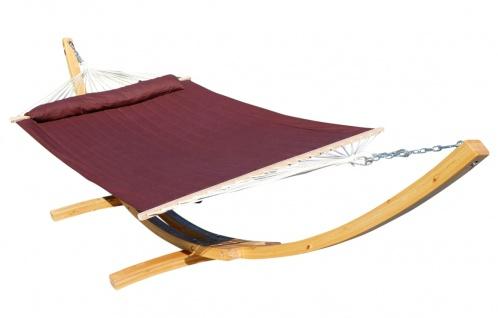 AS-S 410cm XXL Hängemattengestell NATUR-FILLED EDITION BRAUN Hängematte mit Gestell aus Holz Lärche mit Stabhängematte (GEPOLSTERT) inkl. Kopfkissen