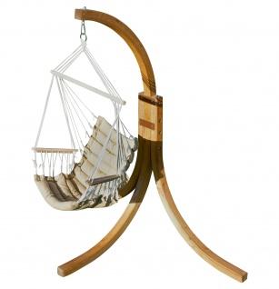 AS-S Hängesessel geknüft mit weichem Sitz Polster Holz Gestell aus Lärche NAV-MALY-BRAUN komplett Hängesesselgestell und Hängesessel angenehmer Sitzkomfort im 6cm dickem Kissen