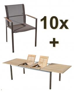 AS-S Gartengarnitur Edelstahl Batyline A-Grade Teak Holz Set: Ausziehtisch 200/240/280 x 100 cm + 10 Sessel mit Batyline Bespannung Serie KUBA-BRAUN Gastroqualität