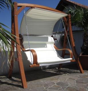 AS-S edle Hollywoodschaukel Gartenschaukel MERU mit Dach Holzgestell mit Doppelsessel aus Holz Lärche - Vorschau 3