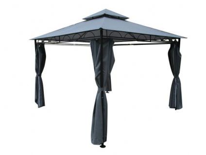Eleganter Garten - Pavillon 3x3 Meter, Dach 100% WASSERDICHT UV30+, 9m², mit 4 Vorhängen quadratisch anthrazit Modell: 7075-3x3