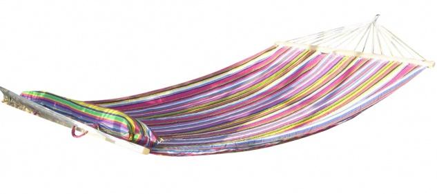 DESIGN Hängematte 120x200cm gefüttert mit Kopfkissen PINK gestreift aus Baumwolle von AS-S