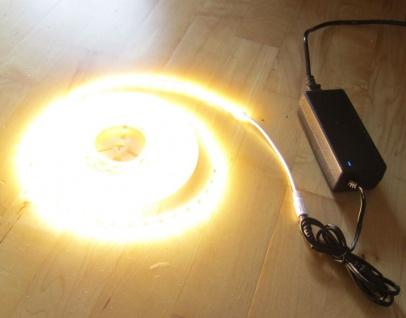 SET 6050 Lumen 5m Ultra-Highpower LED Streifen mit 300 2835 LED's warmweiß weiss weiß superhell wasserfest IP65 inkl. Netzteil 24V Pro-Serie TÜV/GS geprüft - Vorschau 1