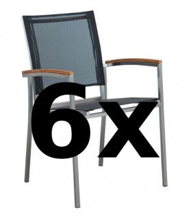AS-S 6Stk Designer Gartenstuhl mit Armlehne KUBA-SCHWARZ Gartensesse Stapelsessel Stapelstuhl Sessel Edelstahl Batyline Textilene Teak stapelbar sehr robust Gastroqualität