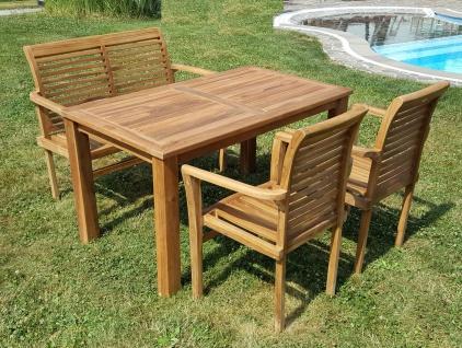 ECHT TEAK Gartenset Bigfoot Tisch 140x80 + 1 Bank 120cm + 2 Sessel ALPEN Holz