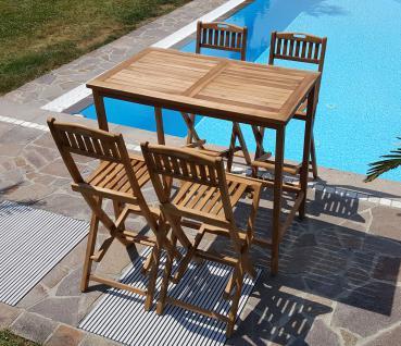 XXL BAR-SET - TEAK Bartisch Bistrotisch Stehtisch 120x70cm mit 4x Barhocker Holz geölt Modell: BIMA-SET120+4