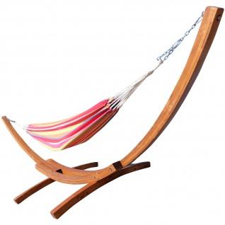 410cm XXL Hängemattengestell MONA aus Holz Lärche mit bunter Tuch Hängematte