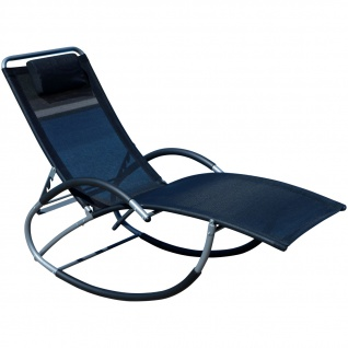 AS-S Liegestuhl Schwingliege Gartenliege Schaukelstuhl mit atmungsaktiven Kunststoffgewebe Rückenlehne verstellbar + Kopfpolster KRETA SCHWARZ